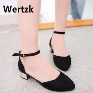 Wertzk Taille 35-40 Femmes Plat Sandales Ballet casual bas Talon Sandales Bouche Peu Profonde Dames De Mode chaussures ballerine T137