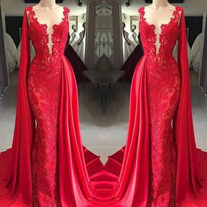 2020 sirena vestidos de baile combinados en rojo de encaje con mangas apliques Cabo Desgaste formal de los vestidos de noche de personalizar el tamaño