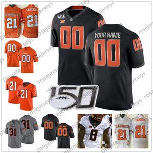 Personalizzato Oklahoma State Cowboys 2019 Football Qualsiasi nome numero Nero Grigio Arancione Bianco # 2 Tylan Wallace 3 Spencer Sanders Maglia NCAA 150TH