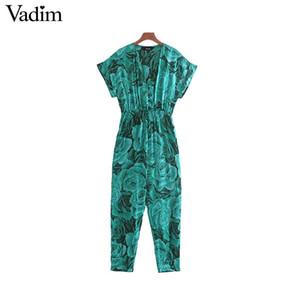 Vadim women retro floral print jumpsuit V neck elastic waist short sleeve pockets female stylish casual playsuits mujer KB122