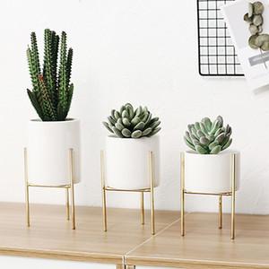 Nordique Fer Céramique Art Vases Simple Vase De Table Cadre Céramique Café Maison Chambre Jardin Pot De Fleurs Décoration