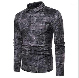 Ropa para hombre de manga larga Patchwork Casuak Polos para hombre contrato Color Polos para hombre diseñador agujero traje Fit
