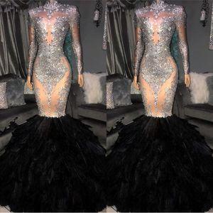 Vendita calda Crystal Prom Abiti da sera 2019 Vintage Mermaid Manica Lunga Abito formale Del Partito Guaina Feather Pageant Dress BC1265