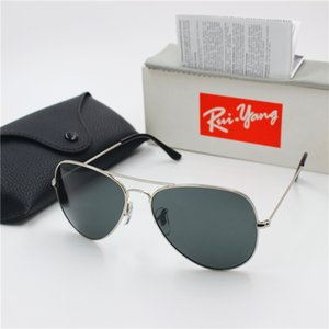 Neue Qualitäts-Mode Pilot Augenschutz YXVAXL Sonnenbrille Silver Frame Black Glass 62mm Objektiv UV400 Schutz Black Box