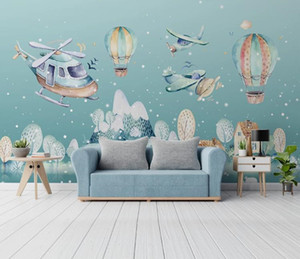 Custom wallpaper HD 3D Hand drawn cartoon hot air balloon over village landscape painting living room bedroom TV background wall children's