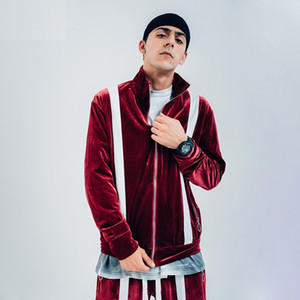 Мужчины Полосатого Велюр фуфайка Streetwear цвет блок Velvet Толстовка Пуловеры Zip Up для мужчин ретро Сыпучих Длинных Толстовок рукава