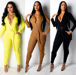 Frauen Jumpsuits Slim Fit Body Fashion Langarm Lange Hosen Jumpsuits beiläufige Klage Solid Color asiatische Größe S-2XL