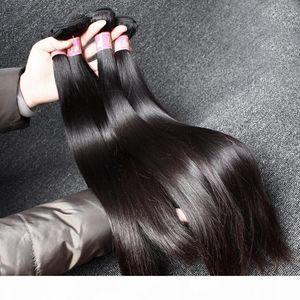İşlenmemiş Bakire Perulu saç örgüleri Düz Vizon Saç Remy İnsan Saç Çift Atkı Uzantıları Toptan Bellahair 8A Doğal Renk Bulk