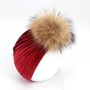 New Winter Thick Warm Velvet Beanies Hats For Nebworn Baby Boys Girls Soft Cotton Toddler Infant Real Fur Pompom Hat
