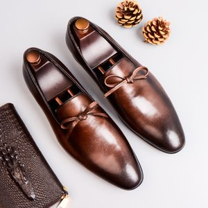Hombres zapatos del juego vestido de los zapatos de cuero de negocios los hombres de la marca Bullock mens cuero genuino de bodas slipon zapatos negro Phenkang