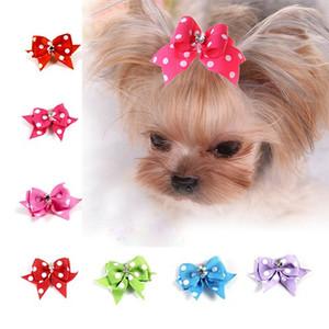 Pet polka dot perro arco de la manera hecha a mano accesorios para el cabello pelo del gato del perro mascota lindos accesorios para mascotas perro arco cabeza de la flor de la horquilla