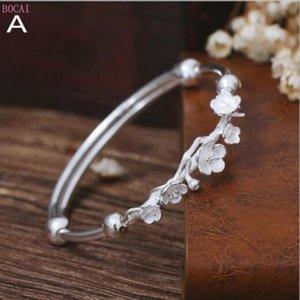argent pur 990 fleur push-pull Bracelet femme version coréenne bracelet art fille frais doux pour les femmes 2020 nouvelle mode
