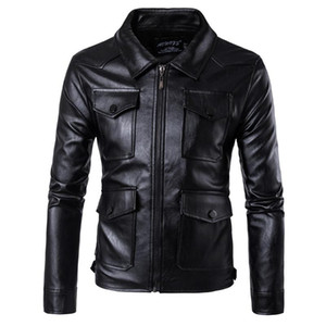 Mens nuevo estilo informal capa de cuero locomotora de múltiples bolsillos de gran tamaño chaqueta de cuero masculino de la capa M-5XL
