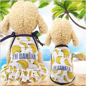 Pet Gömlek Kedi Giyim için Kore Stil Köpek Giydirme Yaz Muz Elbise Çift Köpekler Giyim Pet Kedi tatil plaj Elbiseler