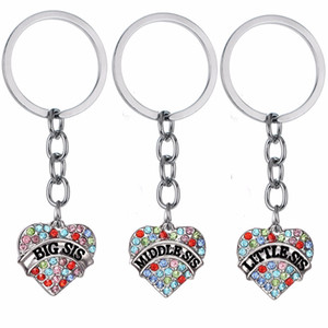 12 PC / Lot Crystal Love Heart Charms llavero grande medio Sis hermana hermana llavero para mujer familia mejor amigo regalos llavero