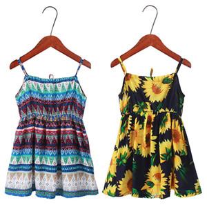 Neonate Sling Dress 9 disegni di girasole del bambino della principessa del merletto Vestiti per bambini vestiti casuali ragazze Ruffle cotone di seta Outfits 2-9T 060.317