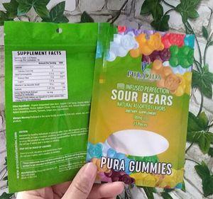 Sac gommeux Mylar Pura gélifiés sacs d'emballage en plastique comestible Top Zipper Airtight Smell sacs preuve avec fenêtre à glissière trois étanchéité latérale