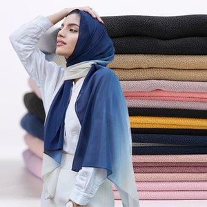 ombre şal kabarcık şifon başörtüsü eşarp kadın eşarp Gradyan Malezyalı başörtüsü moda müslüman sarık sarma