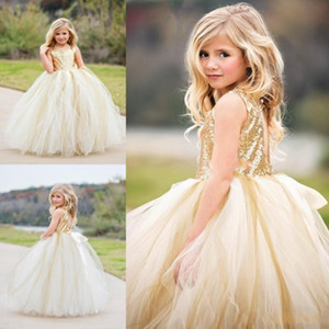 2020 Gold Boho Flower Girls Dresses Jewel Lentejuelas Top Hollow Back Sexy Girls Vestidos del desfile Tulle First Communion Dress