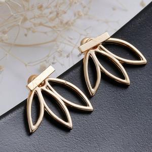 Feuille Punk Boucles d'oreilles en or pour les femmes en alliage d'argent plaqué évider Fleurs Mode Femmes Brief alliage Stud Bijoux Boucles d'oreilles