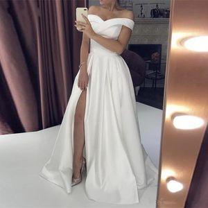 링은 기차 신부 고객 가운 스윕 착용 어깨 네클라인 전면 분할 드레스 저녁 오프 간단한 저렴한 댄스 파티 드레스