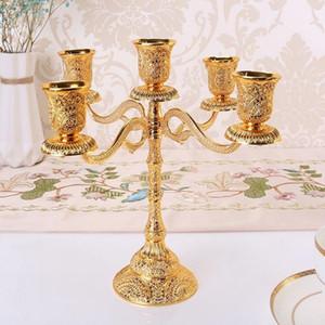 5-Silah Metal Mumluklar Hollow Tasarım Şamdan Masa Mum Düğün Dekorasyon Mumluk Ev Dekorasyonu candelabrum Standı
