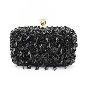 K94-2 Crystal Women Pearl Beaded Black Evening Metal Clutches Bag Wedding Party Prom Bridal Handbag Purse