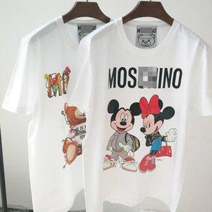 mulheres designer de camisetas t roupas camisa de roupa branca Urso de manga curta feminina casal cartoon impressão de algodão solto T-shirt novo do algodão