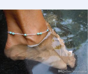 Street beat with the whole personality all hand wear beads turquoise beads anklet wholesale free shipping