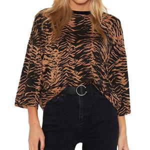 Vadim mujer elegante Leopardo camisa de tres cuartos o cuello gasa suelta vintage básica moda casual tops blusas XL tamaño damas L *