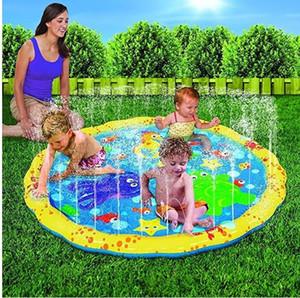 100CM Kids Play Mats Outdoor Inflatable Sprinkler Pads Water Fun Spray Mat Splash Water Mats Toddler Baby Swimming Pool