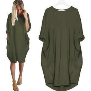 Die Frauen-beiläufige Kleider Mode Rundhalsausschnitt Panelled Langarm Kleider losen Einfache Plus Size Kleider mit Taschen