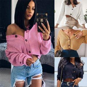 여성 긴 소매 V 넥 니트 가디건 스웨터 겨울 따뜻한 버튼 위로 스웨터 여성 열기 전면 슬리브 코트 착실히 보내다
