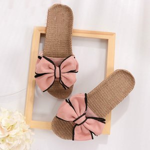 The new summer 2020 fashion versatile casual sports slippers bowknot soft soles women's shoes indoor flats lovely linen slippers