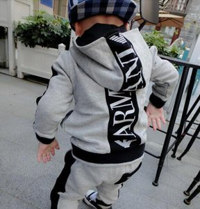 Autumn brand hooded sweater two-piece boy long-sleeved letter set spring and autumn casual sportswear suit ARMA2T-8T