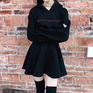 Moda Elbise Kadınlar Gothic Punk Gül Mektupları Uzun Kollu Yüksek Bel ile Şapka Elbise Günlük Sade Siyah Elbise Siyah