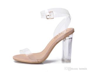 Charm2019 Decentest Femmes Escarpins Boucle Sandales Chaussures à Talons Célébrités Portant Style Simple PVC Transparent Strappy Transparent. GGX-011
