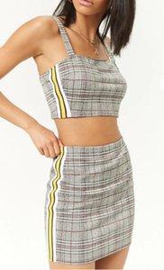 Trendy2019 Baskı Kafes Dokuma Bölünmüş Ortak Kaşkorse Takım Elbise Getirmek
