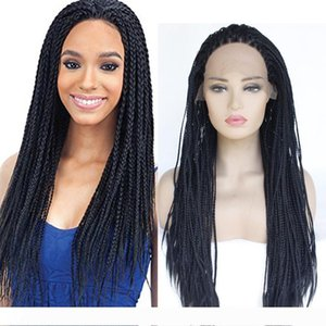 wholesale 18-26Inch Black Braids Handmade Collection Synthetic Lace Front Braided Wigs for Black Women Heat Resistant