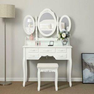 Tri-Folding Mirror Vanity Set Makeup Table 7 Drawers Bedroom Dressing Desk Wood
