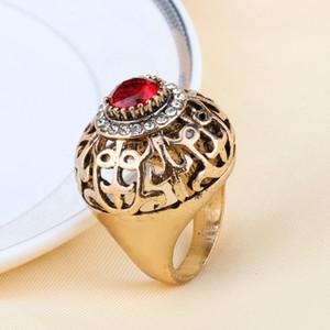Kinel Hot Fashion Dubai Gold Big Antique Ring Women Hollow Crystal Flower Green Resin Wedding Ring Vintage Jewelry