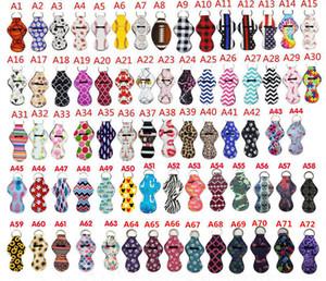182 Colores impresión de patrones Chapstick titular de la muchacha llaveros Chapstick del lápiz labial del partido para el llavero de regalo de San Valentín de los favores