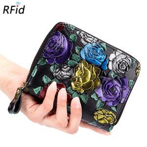 Женская Короткие Портмоне Wallet Творческий большой емкости Zipper RFID Organ-Style Card Holder Cowhide Несколько Слоты