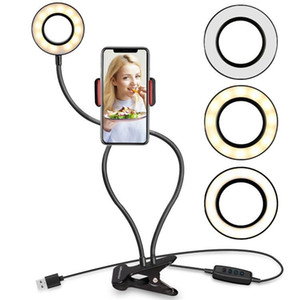 2 in 1 Selfie Ring Light with Cell Phone Holder Stand flexible usb cable for Live Stream video Makeup Photograph multi-modes LED Lighting