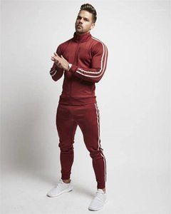 Sets Mens Striped Print 2pcs Tracksuits Spring Autumn Teenagers Sports Suits Males Stand Colar Zipper Fly Drawstring Pencil Pants Casual