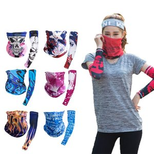 Hip hop Bandana Magic Scarf protective sleeves set Sport Sun UV Protection Cooling Face Mask For Running Fishing Cycling LJJA4081