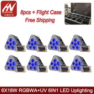 8 unids con estuche 6x18w led par batería rgbwauv 6 in1 led par can DMX Wireless Battery Flat Par Light para luces de escenario profesionales