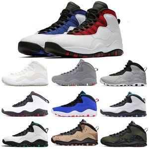 Männer Basketballschuhe Jumpman 10 10s Herren Zement grau Infrarot IM Back Orlando Seattle Smoke Grey White Sports Sneaker Größe 7-13
