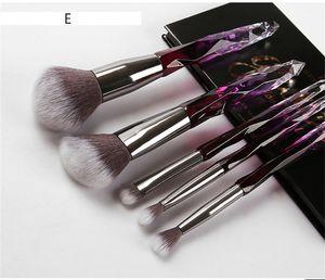 6style ромб Радужный ручка 5pcs/set макияж кисти установить профессиональный фундамент Кристалл макияж кисти с мешок Opp