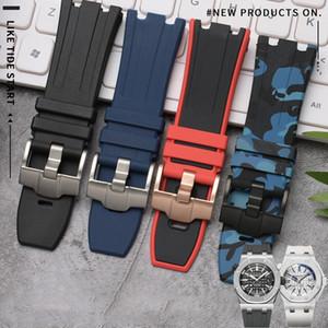 Yeşil Kırmızı Siyah Mavi Beyaz 28mm Doğa Kauçuk Silikon Kordonlu Saati Erkekler Spor Watch Band ANDEMARS VE PIGUET LOGOSU